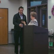 Shewey receiving award from BCAC President Linda Locke